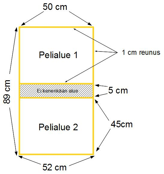 Pöytäkolikon  pelipöydän mitat